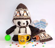 Toys and warm clothes. Hot cocoa, lovely Royalty Free Stock Images