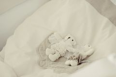 Toys on a white pillow Stock Images