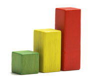 Toys wooden blocks as increasing graph bar. Infographic diagram, chart over white background royalty free stock photos