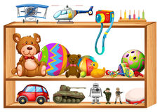 Toys on wooden shelves. Illustration Royalty Free Stock Photo