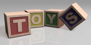 TOYS written with wooden blocks Stock Image