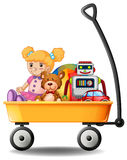 Toys in yellow wagon. Illustration Stock Photo