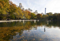 Toyships on lake in Central Park Royalty Free Stock Photos