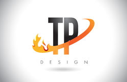 TP T P Letter Logo with Fire Flames Design and Orange Swoosh. Stock Image