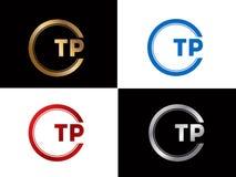 TP-Textgoldschwarze silberne moderne kreative Alphabetbuchstabelogoentwurfs-Vektorikone vektor abbildung