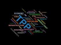 TPP - ordmolnwordcloud - uttryck från den globalisering-, ekonomi- och politikmiljön vektor illustrationer