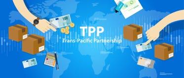 TPP Trans和平的合作协议自由市场贸易国际性组织 皇族释放例证