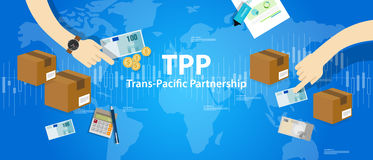 TPP Trans Pacific Partnership Agreement free market trade international. Vector Stock Image