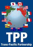TPP(Trans pacific partnership) and Negotiating countrie's flags Stock Photography