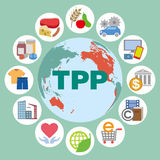 TPP (Trans Pacific Partnership) and various trading goods, services, icons and illustrations Royalty Free Stock Photography