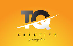 TQ T Q Letter Modern Logo Design with Yellow Background and Swoo Royalty Free Stock Photography