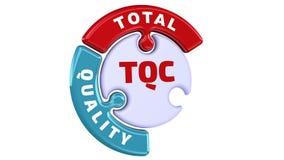 TQC Control de calidad total La marca de verificación bajo la forma de rompecabezas stock de ilustración