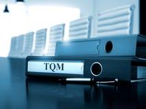TQM sulla cartella di archivio Immagine tonificata 3d Immagine Stock