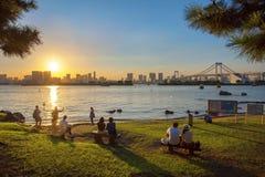 TÓQUIO JAPÃO DE ODAIBA 12 DE SETEMBRO: feriado de relaxamento gasto japonês Imagem de Stock