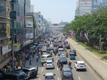 Tráfego congestionado em Jakarta imagens de stock