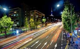 Tráfego da torre de Seoul imagens de stock royalty free
