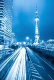 Tráfego das horas de ponta na noite em shanghai Fotografia de Stock