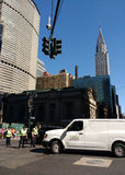 Tráfego de direção de NYPD perto do terminal de Grand Central, estação de Grand Central, construção na vista, New York City de Ch Fotos de Stock