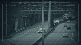 Tráfego do CCTV sobre a ponte grande do ferro ilustração stock