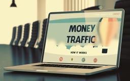 Tráfego do dinheiro no portátil na sala de conferências 3d rendem Foto de Stock