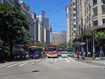 Tráfego em Xavier de Toledo Street Imagem de Stock Royalty Free