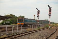 Tráfego Railway no polo Fotografia de Stock Royalty Free