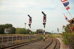 Tráfego Railway no polo Imagens de Stock Royalty Free