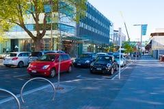 Tráfego rodoviário da manhã em Christchurch, Nova Zelândia foto de stock
