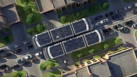 Tráfego urbano do futuro Vista superior animação 3D 4K video estoque