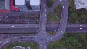Tráfico aéreo de la mañana de Wellington City Intersection Top Down metrajes