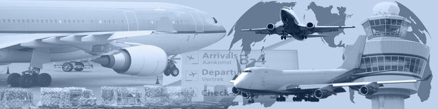 Tráfico aéreo mundial da bandeira Imagem de Stock Royalty Free