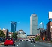 Tráfico céntrico Massachusetts de la calle de Boston imagen de archivo