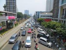 Tráfico congestionado en Jakarta imagen de archivo libre de regalías