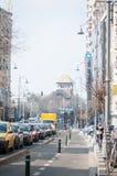 Tráfico de coche de Bucarest y carriles de bicicleta Fotos de archivo libres de regalías