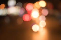 Tráfico de coche de la luz de Bokeh Fotografía de archivo