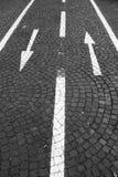 Tráfico de dos vías en carril del bicylce Fotografía de archivo