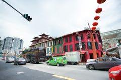 Tráfico de la calle de Chinatown en el distrito de Chinatown, Singapur Imágenes de archivo libres de regalías
