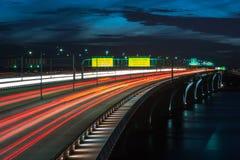 Tráfico de la hora punta de Woodrow Wilson Memorial Bridge Capital Beltway Imagen de archivo libre de regalías