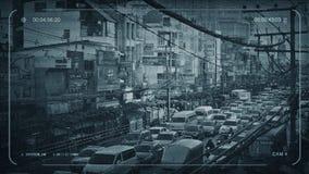 Tráfico de la hora punta del CCTV en ciudad asiática ilustración del vector