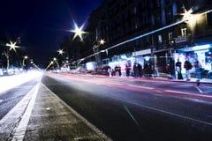 Tráfico de la noche Fotografía de archivo