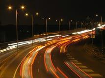 Tráfico de la noche fotografía de archivo libre de regalías