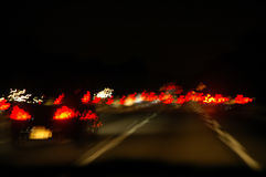 Tráfico de la noche Foto de archivo libre de regalías