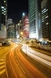 Tráfico de la noche en Hong-Kong Foto de archivo libre de regalías