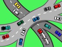 Tráfico del coche y de camión en la autopista Foto de archivo libre de regalías