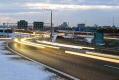 Tráfico del invierno Foto de archivo libre de regalías