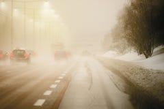 Tráfico del invierno Fotos de archivo libres de regalías