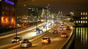 Tráfico del transporte en Estocolmo, Suecia metrajes