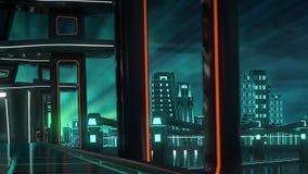 Tráfico en el puente a la ciudad del futuro ilustración del vector