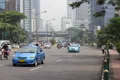 Tráfico en Jakarta céntrica Fotografía de archivo