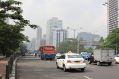 Tráfico en Jakarta céntrica Imagenes de archivo
